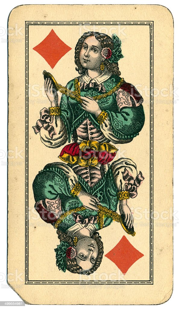 Queen of Diamonds Tarot Austrian Taroch 1900 stock photo