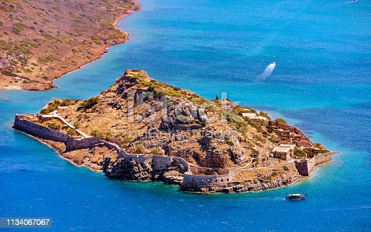 Beautiful view of the sland fortress of Spinalonga, Crete, Greece