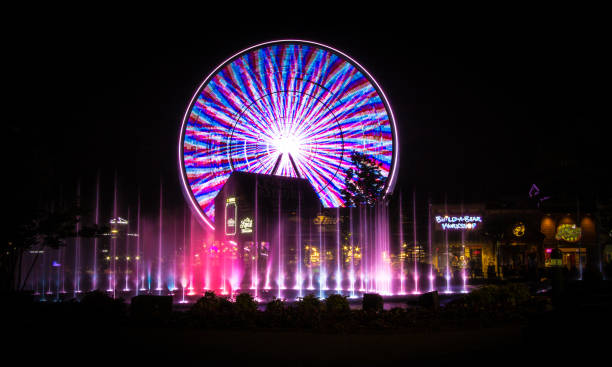 The Island In Pigeon Forge Tennessee Pigeon Forge, Tennessee, USA - May 15, 2017: Illuminated fountains, shops and Ferris wheel at the Island entertainment complex in the Smoky Mountain resort town of Pigeon Forge, Tennessee. pigeon forge stock pictures, royalty-free photos & images