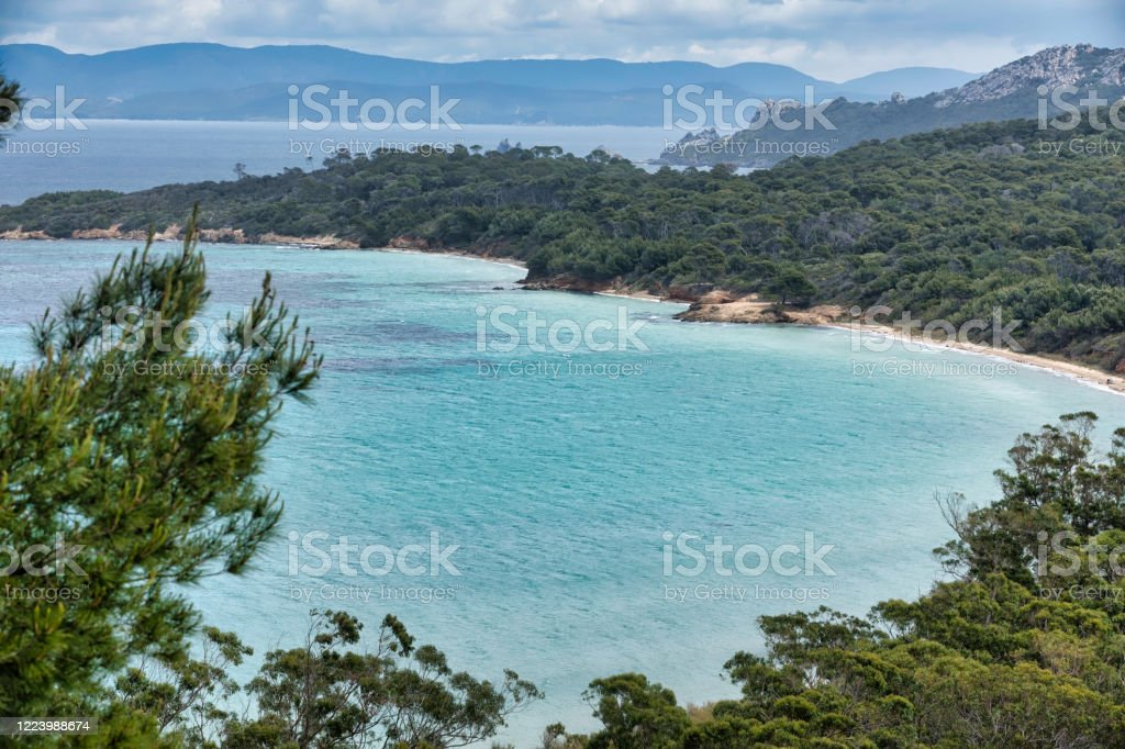 The island of Porquerolles in the Var, in Provence, on the Côte d'Azur - Royalty-free Beach Stock Photo