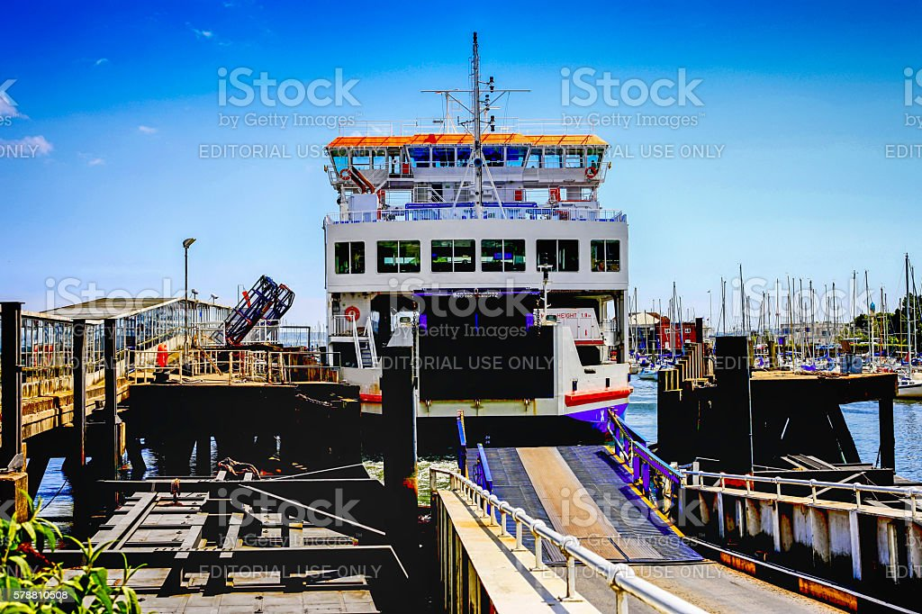 The Isle of Wight ferry at Lymington, UK stock photo