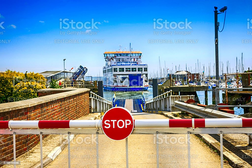The Isle of Wight ferry leaving Lymington for Yarmouth, UK stock photo