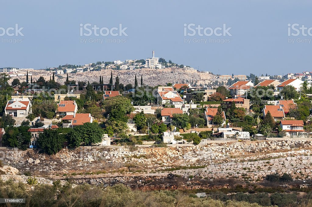Israeli settlement of Beit Arye in the West Bank stock photo