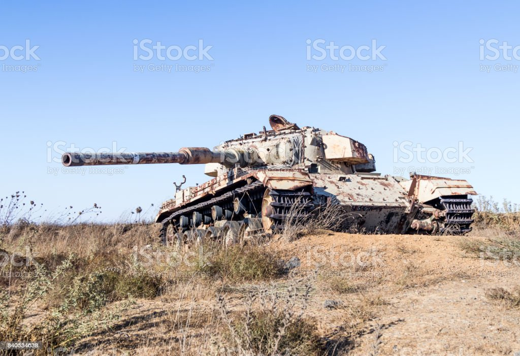 The  Israeli tank is after the Doomsday (Yom Kippur War) on the Golan Heights in Israel, near the border with Syria stock photo