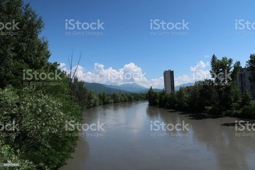 The Isère river stock photo