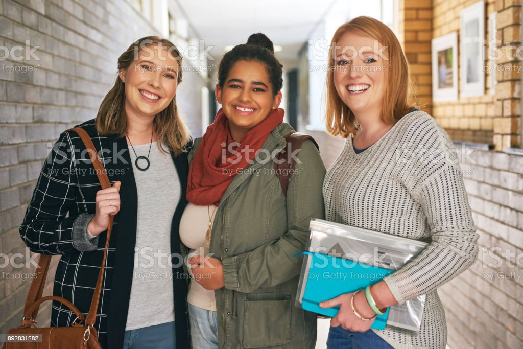 The it clique on campus stock photo