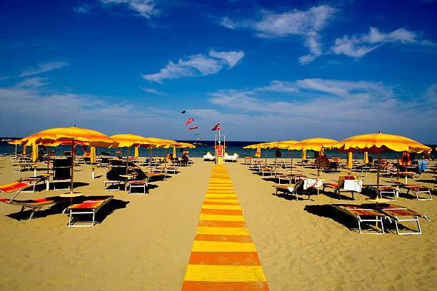 The Italian beach of Rimini stock photo