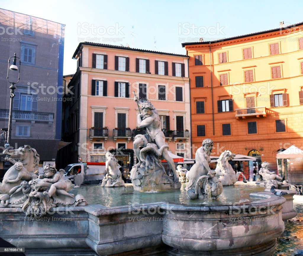 The Italy, the city of Rome, Piazza Navona stock photo