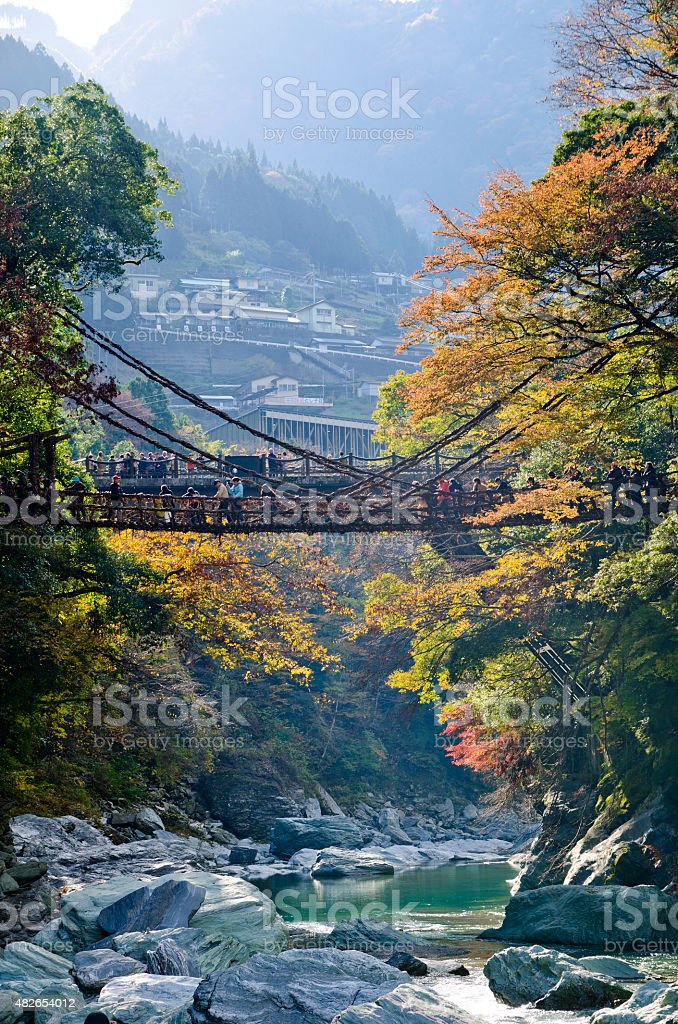 The Iya valley and Kazurabashi bridge stock photo