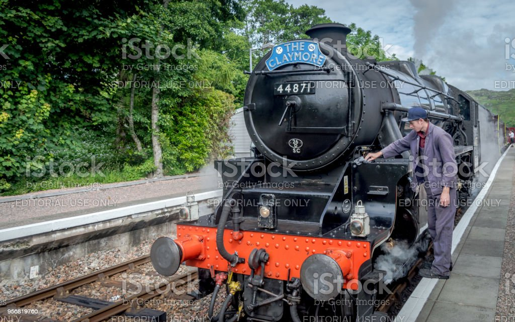 The Jacobite being inspected before steaming though the highland stock photo
