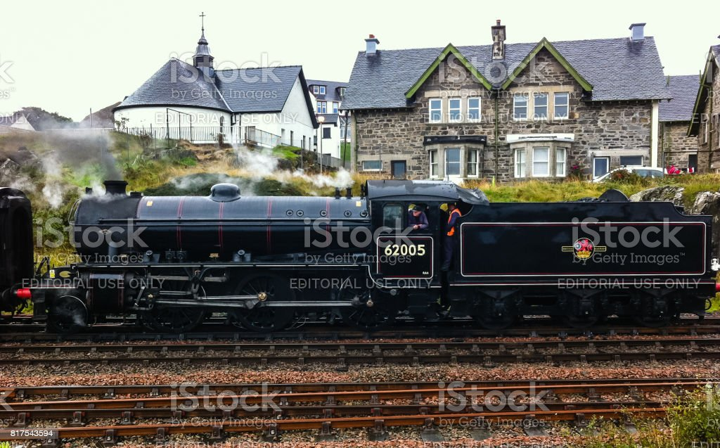 The Jacobite steam locomotive about to depart from Mallaig stock photo