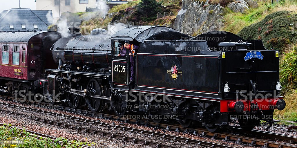 The Jacobite steam locomotive departing Mallaig, stock photo