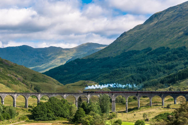 The Jacobite train over Glenfinnan viaduct stock photo