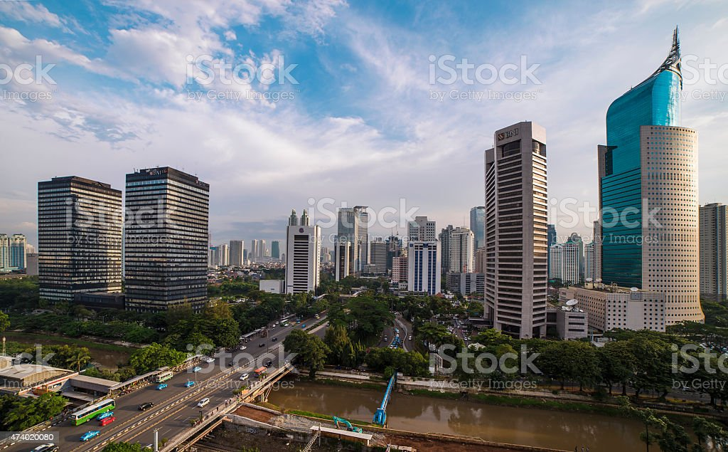 the Jakarta Skyline at Daylight stock photo
