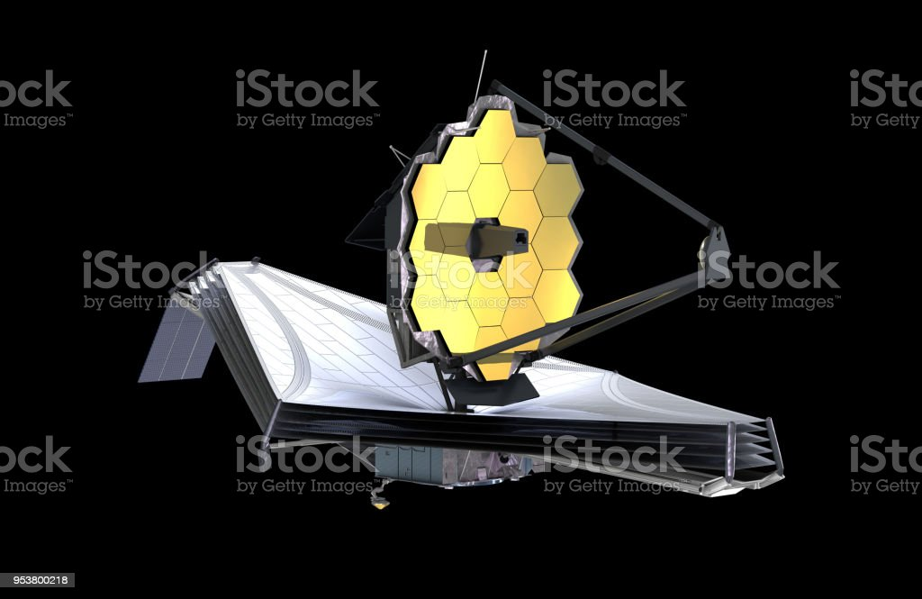 The James Webb Space Telescope (JWST or Webb), 3d illustration, elements of this image are furnished by NASA stock photo
