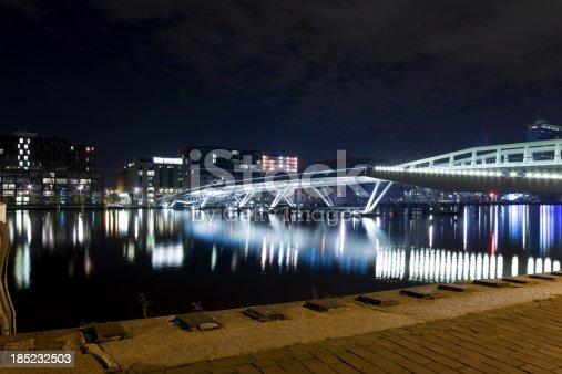 The Jan Schaeferbrug illuminated at night, Amsterdam, The Netherlands