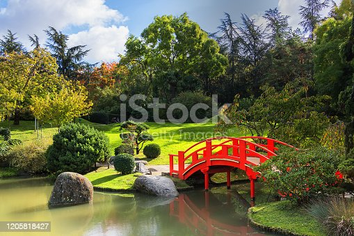 The Japanese Garden with  on a sunny day. Compans Caffarelli district. Toulouse. France