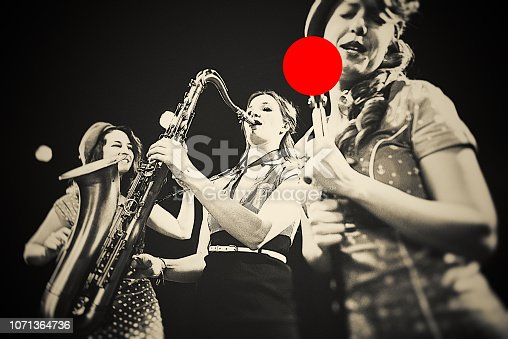 women, jazz, band, performance, vintage,