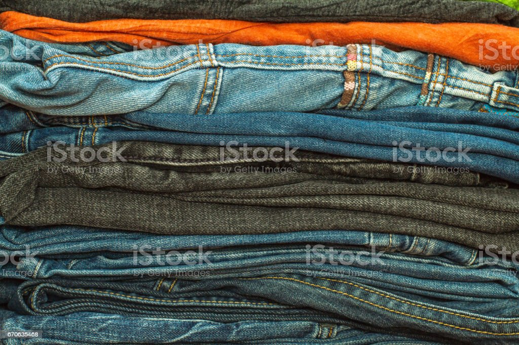The Jeans In A Closet stock photo