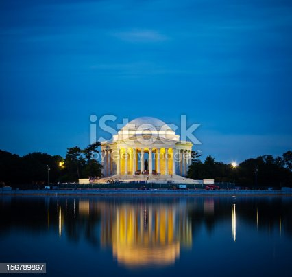 The Thomas Jefferson Memorial Lit Up At Night In Washington D.C., U.S.A.