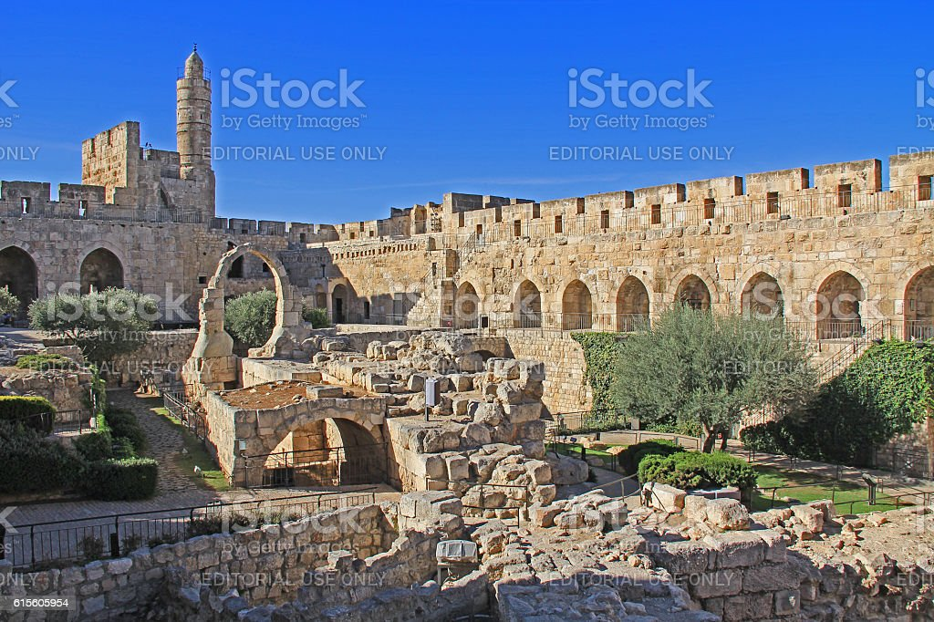 The Jerusalem Citadel or Tower of David stock photo