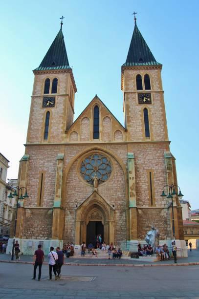 the jesus' sacred heart cathedral in the old town of sarajevo. bosnia and herzegovina, southeast europe. - jesus and heart zdjęcia i obrazy z banku zdjęć