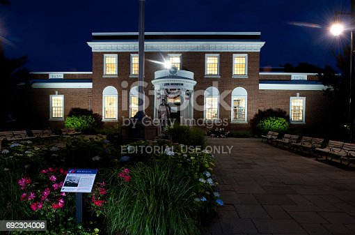 istock The JFK museum in Hyannis, at night. 692304006