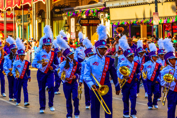 The JMSCS Marching Band  -  New Orleans stock photo
