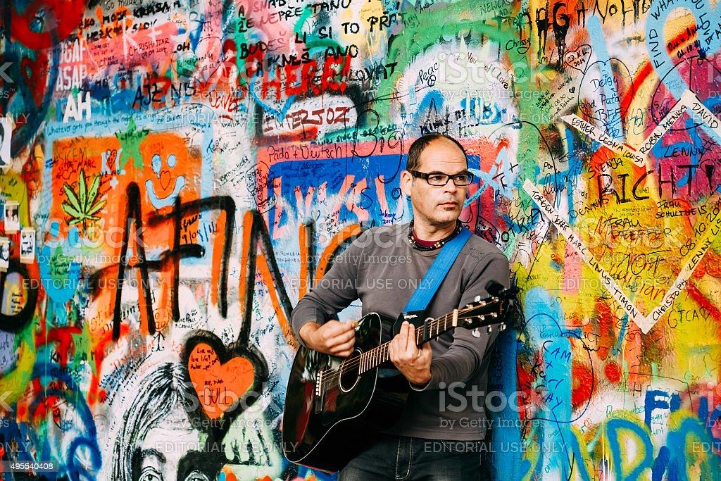 The John Lennon Wall in Prague, Czech Republic stock photo