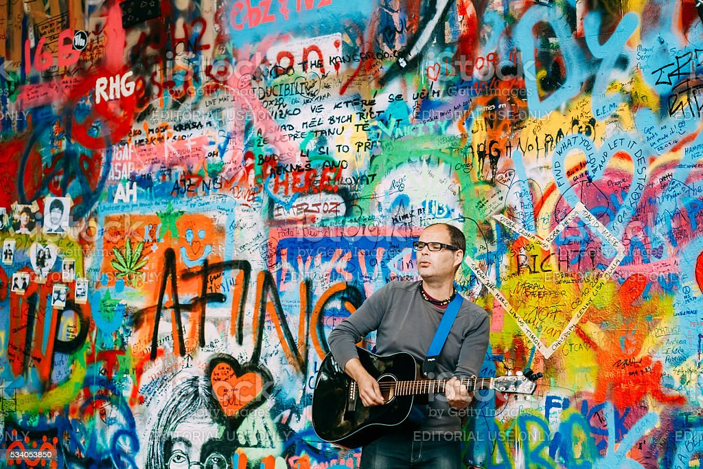 The John Lennon Wall in Prague, Czech Republic stock photo