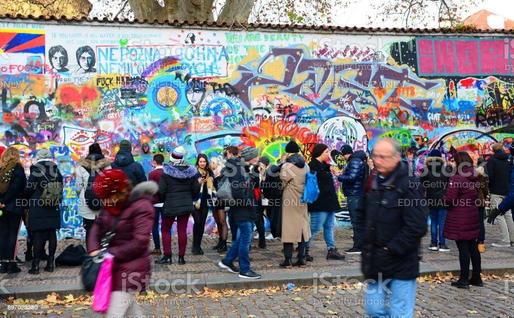 The John Lennon Wall in Prague stock photo