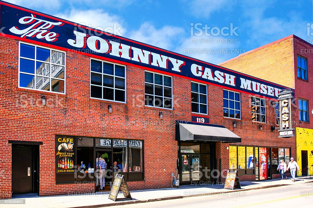 The Johnny Cash Museum on 3rd Ave in Nashville, TN Nashville, TN, USA - April 5, 2016: People outside the Johnny Cash Museum on 3rd Ave in downtown Nashville, TN Architecture Stock Photo
