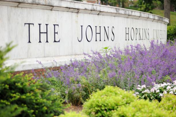 The Johns Hopkins University Sign stock photo