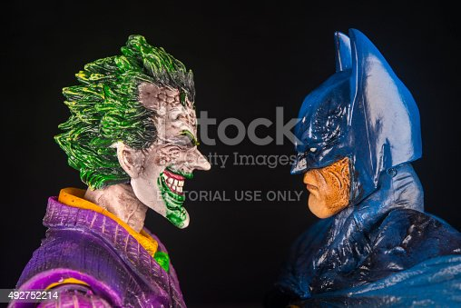 Notre Dame De Lile Perrot, Canada - October15, 2015: Horizontal studio shot of the Joker face to face with Batman from DC Comics.