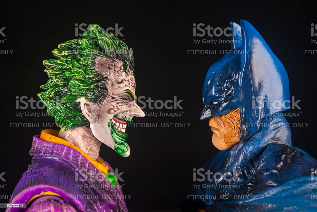 The Joker and Batman Face To Face stock photo