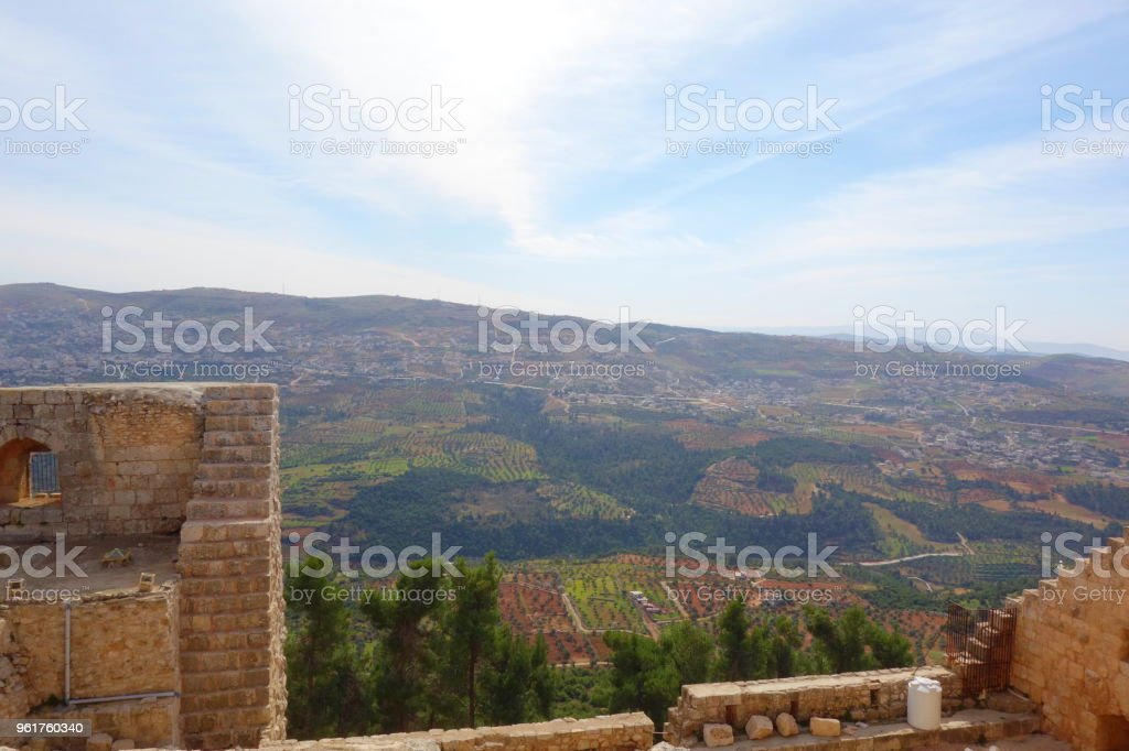 the Jordan Valley seen from the Ajloun Castle, Muslim castle built by the Ayyubids in the 12th century, enlarged by the Mamluks, on a hilltop belonging to the Mount Ajlun district, Middle East stock photo
