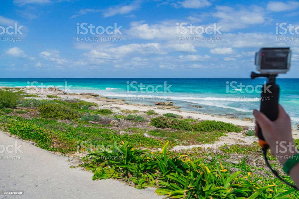 The journey at the wheel. Electric car ride to the island of Isla Mujeres, Mexico, Cancun stock photo