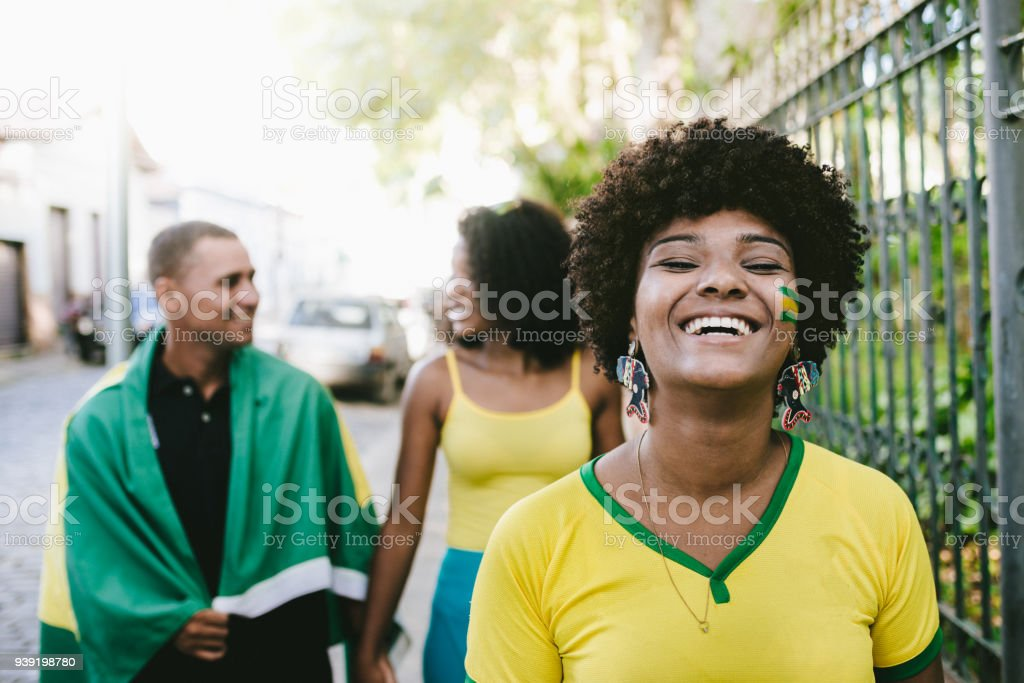 The joy of cheering for Brazilian soccer team stock photo