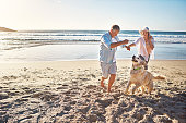 Shot of a mature couple spending the day at the beach with their dog
