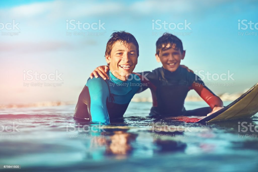 The joy of surfing , share the stoke! stock photo