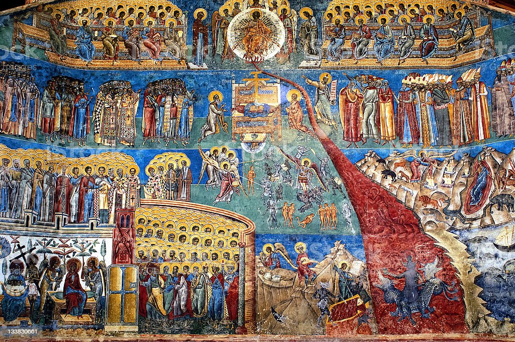 'the judgment day' fresco Voronet monastery, Romania stock photo