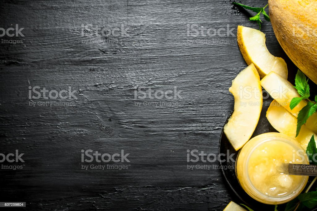 The juice from the melon with the mint leaves. stock photo