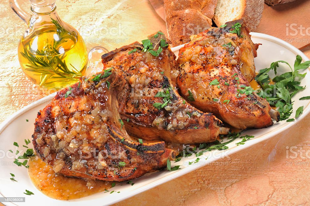 The juiciest Grilled Pork Chops stock photo