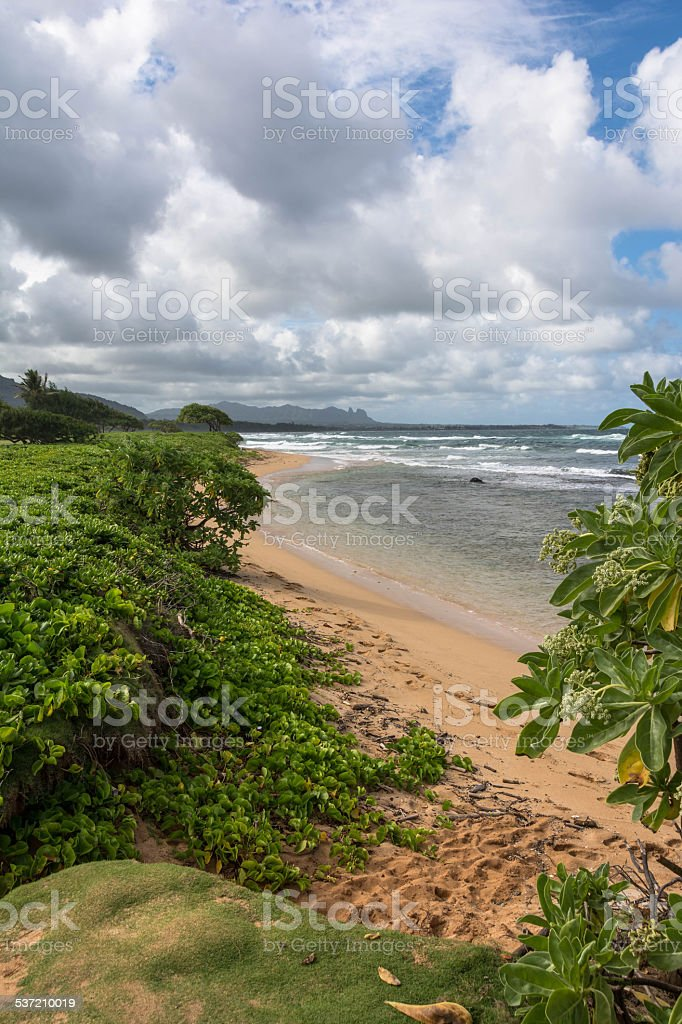 The Kahakuloa beach, Maui stock photo