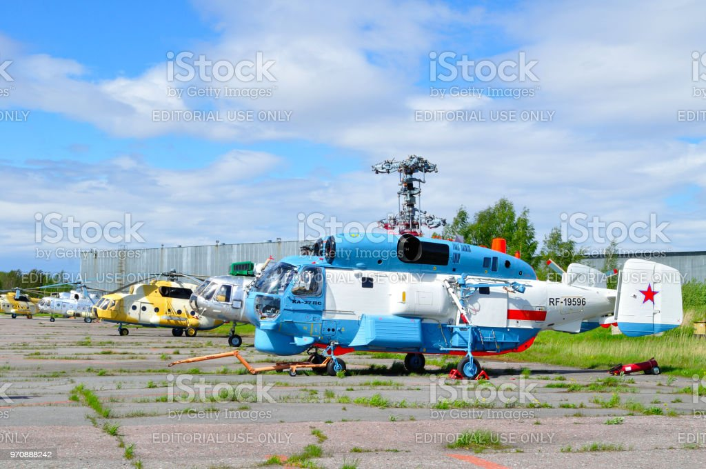 The Kamov Ka-27 PS and the Mil Mi-8 helicopters stock photo