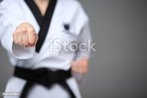 istock The karate girl with black belt 509430084