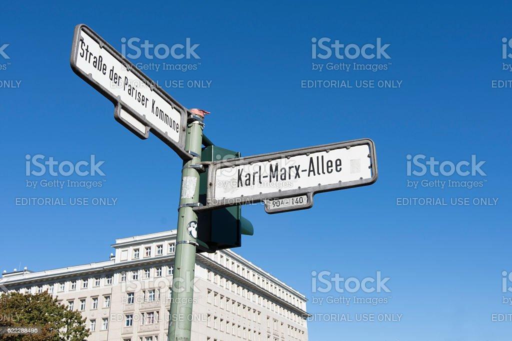 The Karl Marx Allee in Berlin stock photo
