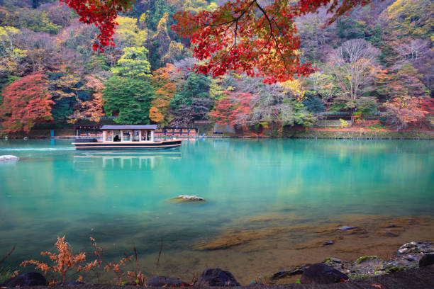 The katsura river in the autumn stock photo