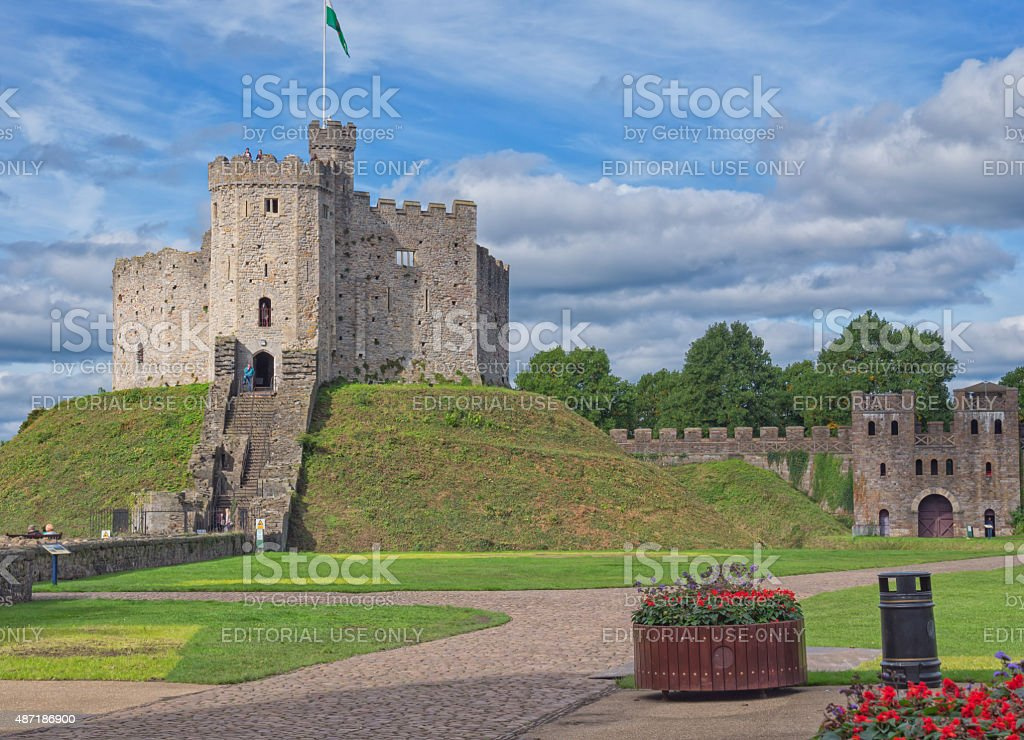 The keep of Cardiff Castle, Wales stock photo