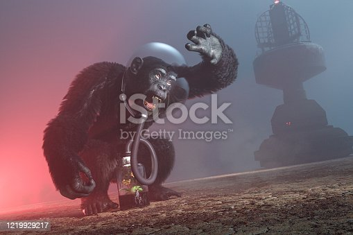 Digital artwork depicting a chimpanzee wearing a space helmet that is connected by a hose to a jar which contains a single flowering plant. The landscape is devastated and completely barren. The chimp is shielding his eyes from the light of something only he can see. The atmosphere is dusty and windblown. Something behind the chimp is emitting a red light. Visible in the background is some sort of tower. The chimp wears a distressed and possibly frightened expression, and is screaming. The camera angle is tilted to the right, and there is ample room for text.